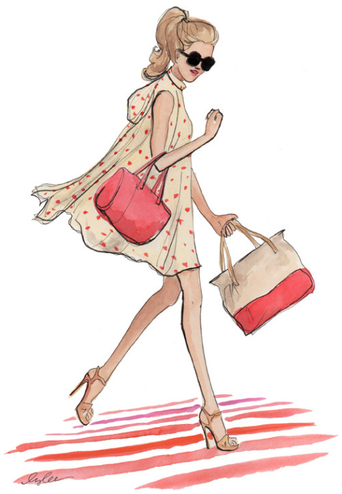 "katespadeny:  ""a sketch of my favorite look from the new kate spade collection. i had the honor of sitting on a chic black and white ottoman mere feet from the colorful crisp new looks this afternoon at the spring 2012 presentation while deborah lloyd described the inspirations for the designs."" - inslee"