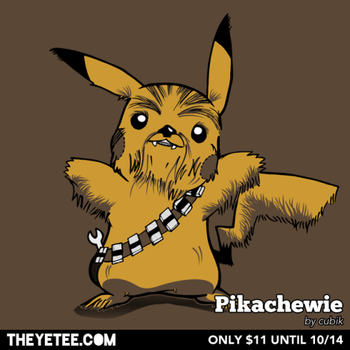 "theyetee:    Pikachewie by cubik (Rob Wood) Let the Wookiemon Win! cubik collides a famous co-pilot from ""A Galaxy Far, Far, Away"" and #25 in the National Pokedex in $11 only at THE YETEE! Pick one up while you can, as they are on sale until October 14th.  Make sure you swing by our Facebook page to enter to win a free shirt!"