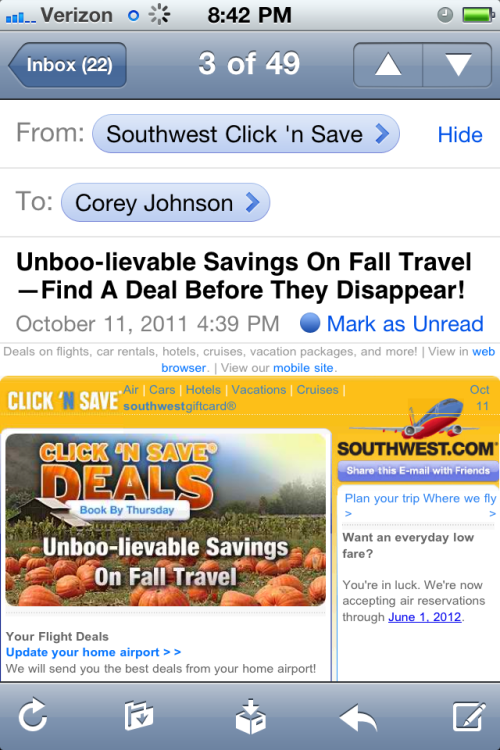 The subject of this email makes me never want to fly Southwest.