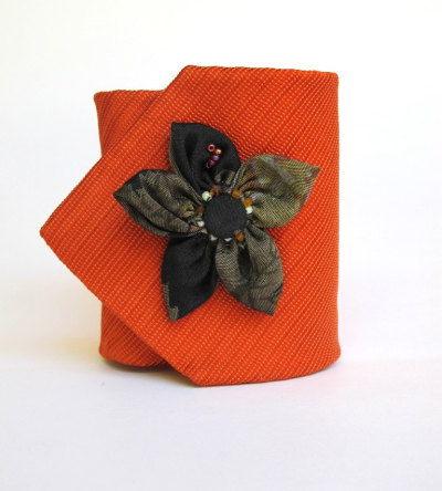 """Happy Flower"" Orange Cuff by Hagarae"