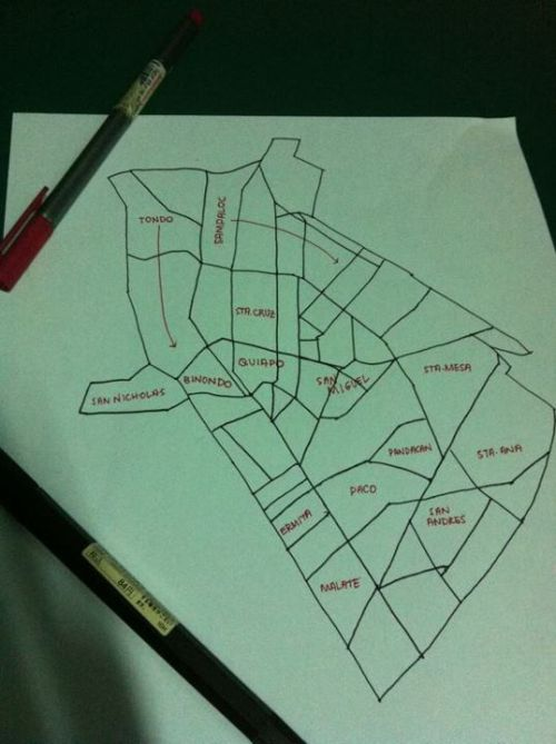 angelaguiao:  Map of Manila This was a homework for our Philippine History class. Our professor told us to draw and label the map of Manila. She thought of this homework because she said we're architecture students and we can draw and we must know places. I had a hard time doing this. I didn't know the boundaries of the districts HAHAHA But yeah, it was fine.  Teachers teaching their students to appreciate their roots = wonderful. Future architects living in the present with a firm grasp of their past = anything can happen!