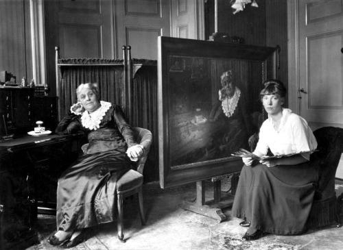 Wilhelmina Drucker, Dutch women's rights pioneer, sitting for a portrait with Truus Claes in 1917 on the occasion of her seventieth birthday. Dutch women's rights group Dolla Mina derived its name from Wilhelmina's nickname.