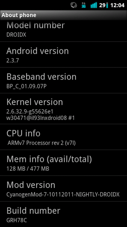 CyanogenMod 7.1 on my Droid X. :)