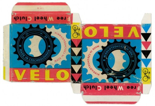 packaging for Velo Free Wheel Clutch bicycle parts in a box, c. 1950?(first discovered via Made in Czechoslovakia, via goenetix)