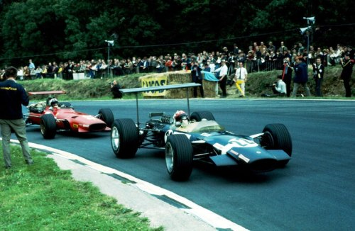 Jo Siffert and Chris Amon at the British Grand Prix 1968