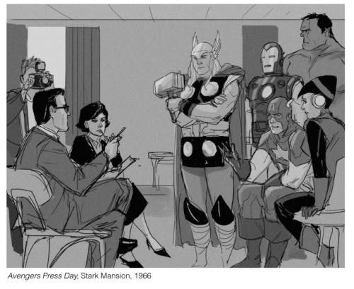 "philnoto:  From the Hank Pym Photo Archives- Avengers Press Day  ""Tony thought it would be a good idea to invite some of the press over to Stark Mansion to highlight some of the work we were doing as the Avengers. I took this photo during an interview with a team from The Daily-something-or-other. I do remember the reporter asking us what we thought about other heroes' roles in the country's affairs. Apparently their city had, as the woman reporter put it, 'A one-man Avengers team.' ""    Phil Noto's the greatest."