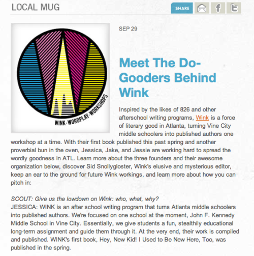 Wink was featured on Scoutmob's Local Mug! The interview is from all of us folks at Wink (not just Jessica), but it's great publicity nonetheless. Thanks Scoutmob!