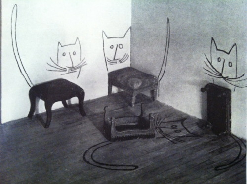 olympialetan:In love with these Saul Steinberg stool cats from The Best of Flair.