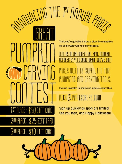 Paris Creperie | Annual Pumpkin Carving Contest Poster Design