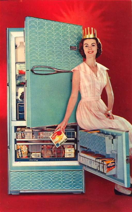 bad-postcards:  FRIGIDAIRE QUEEN  Now FRIGIDAIRE brings you FREEZING without FROSTING in the new '59 FROST-FREE Refrigerator-Freezers!  Repeat that sentence three times fast!