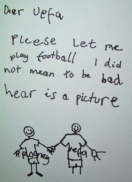 offsidehumor:  Rooney's apologies to UEFA.