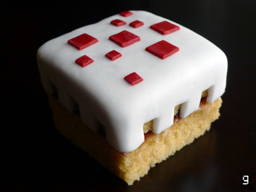 gourmetgaming:  Request: Minecraft – Cake I purposefully don't play Minecraft; though enough of my friends have harassed me to play it and I've heard nothing bur praises. I've spoken before of my horribly addictive personality and I know that if I got involved in Minecraft I would never again see the light of day and they'd find my shrivelled, malnourished corpse collapsed over my laptop. It would be a good way to go, but just not yet. Either way Minecraft Cake has been on my list for a while now and enough of you have been asking for it so here you go! Also from next week, due to popular demand, I will provide ingredients in American-friendly terms. Who knew I'd ever get involved in politics? What you will need: Large mixing bowl, 20x20 square cake tin, small bowl, small pot, sieve, whisk, rolling pin, spatula, greaseproof/baking paper. For the Cake: 200g Plain Flour 2 Teaspoons Baking Powder 200g Golden Caster Sugar 200g Butter (Room Temperature) 2 Teaspoons Vanilla Extract 3 Medium Eggs (Room Temperature) 3 Tablespoons Milk For the Frosting: 100g Dark Chocolate 25g Butter 150ml Single Cream 100g - 200g Icing Sugar To Finish: White Ready-to-roll Icing Red Ready-to-roll Icing Preparing the Cake:  Preheat 	the oven to 180C. Grease and line a 20x20cm square cake tin.   In 	a large bowl, cream the butter and sugar together until pale and 	fluffy.   Beat 	the eggs and add them slowly to the butter and sugar along with the 	vanilla extract.   Sieve 	in the flour and baking powder then combine it gently into the mixture. Pour into the 	prepared cake tin and place in the oven for 20-25 minutes.   Once 	golden brown and springy, allow to cool and store in the fridge 	while you prepare the frosting.  Making the Frosting: In a bain-marie, melt the chocolate, butter and cream together until smooth. Allow to cool until the mixture thickens slightly, then slowly whisk in the icing sugar until the chocolate is light and fluffy. Allow to cool further before spreading onto the cake. Making the Cake:  Once 	the cake has cooled, level it carefully then cut it into 4 (you can 	make 2 minecraft cakes from this recipe). You may want to use a 	cookie cutter or make a template so each piece is of equal size.   Take a portion as your base and add a little frosting to the top of it 	and layer another piece of cake for the top – set aside.   On a clean work surface, sprinkle some icing sugar and roll out 	the white icing to about 1 cm thick and cut a piece large 	enough to comfortably cover the cake.   Spread 	some frosting on top of the cake and then cover with the white icing. Trim the icing, then cut in the pattern. You may want to make 	a template and use scissors/scalpel.   Roll 	out the red icing to about 1cm thick like before and cut out 4 	large and 6 small squares, arrange the red squares on top of the 	cake to match the Minecraft Cake.   Cut 	appropriately to serve. If you leave the cake you will have to 	return to the cake to continue eating it.   I found this really stressful! I've made it at least three times now because this is a rather important entry! The cake its self is beautiful, just a simple sponge recipe, the tricky part is getting the shapes and icing correct. I didn't think I would have to use my technical graphics skills to work out cake patterns – maybe I would have enjoyed it more at school if that had been its purpose from the start. All I can say is cardboard templates really saved the day here. You can of course make this cake massive if you have the right sized tins, I did not so I had to improvise and make smaller, personal cakes - that way I didn't have to share. I am, however, officially sick of eating cake.