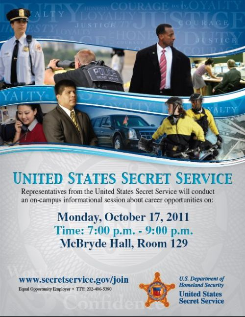 Information Session: U.S. Secret Service The U.S. Secret Service is coming to Virginia Tech to speak about career opportunities within the agency detailing the law enforcement, administrative, professional, and technical careers available. Internship and post-graduation jobs are available. Following the presentation will be a question and answer/meet and greet session.Topics to be discussed will included the Secret Service Application Process, Law Enforcement Careers, and Administrative, Professional and Technical specialties. If you are interested in submitting your resume prior to the event, please send a PDF copy with the event title in the subject line to: vtasianamericanstudentunion@gmail.com Deadline for submissions is Sunday, Oct. 16 at noon. http://www.secretservice.gov/join/http://www.secretservice.gov/opportunities.shtml Facebook Event:http://www.facebook.com/event.php?eid=123176937788730