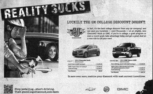 Good work Twittersphere! timzimm:  #GeneralMotors w/ an absurd ad that suggests car drivers are more likely to get laid than cyclists. Profuse apology follows. #ZeitgeistFAIL. Full story here.