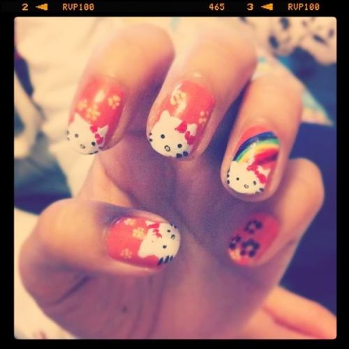 aucun-regret:  Hello Kitty Nail Art