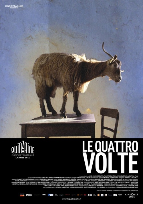 nosympathyforhomecinemablues:  Le Quattro Volte (2010) A beguiling, enigmatic & magical film starring a goatherd, a baby lamb, a tree, and a huge smouldering pile of wood! Refreshingly free of any dialogue or music, Michelangelo Frammartino's camera magically weaves an original and profound contrast to the thematically similar The Tree of Life. I cannot say which of the two is the better film if such a distinction is either necessary or appropriate. I will simply highly recommend both of them! Trailer - Which helpfully contextualises the film's Quasi-Pythagorean Theme