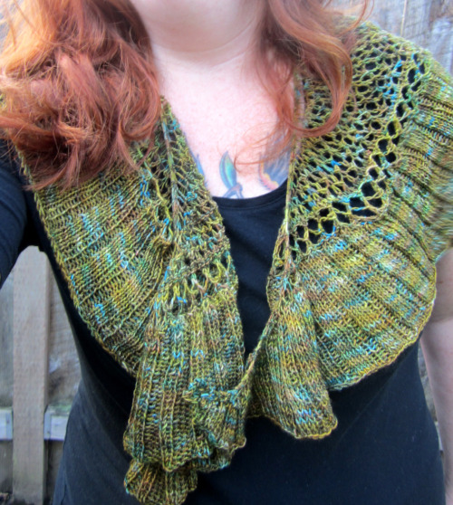 Finished my Charlize shawl.  Beautiful yarn to knit with.