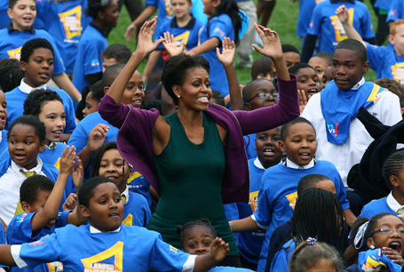 To Fight Childhood Obesity, Michelle Obama Attempts Jumping-Jack Record First lady Michelle Obama does jumping jacks with 400 school children on the South Lawn of the White House, on October 11, 2011 in Washington. On Tuesday, the First Lady led hundreds of school children in a solid minute of jumping jacks on the South Lawn. The event kicked off a 24-hour chase after a Guinness World Record—and served as a reminder of how adorably uncoordinated we all are as young people. TIME
