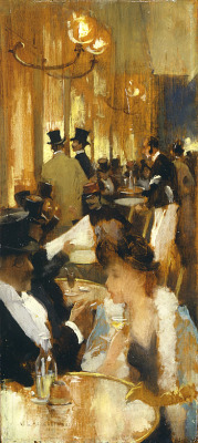 in the cafe, Willard Metcalf, 1888.