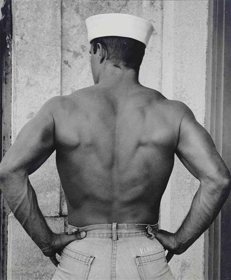 narcissusskisses:  Zor's Back, Sailor Hat, Waikiki, 1982 by bruce weber  More awesome sailors can be found on Bruce Weber's website. Do not miss!
