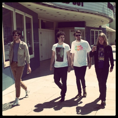 Freddie Cowan of The Vaccines in an Arctic Monkeys t-shirt (Matt Helders in rollerskates!)
