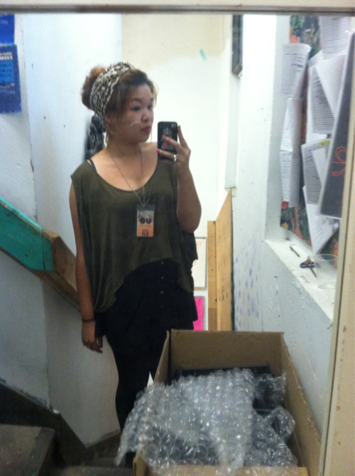outfit for work. urban turban, lf top, forever 21 skirt, calvin klein tights, top shop oxfords