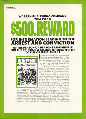 Jim Warren puts a bounty out on Eerie #1 counterfeiters…