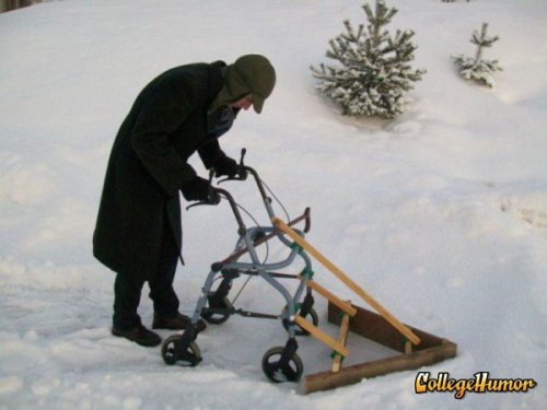Old Man Shovels Snow With Walker Plow It's working slightly better than when he used it to mow the lawn.