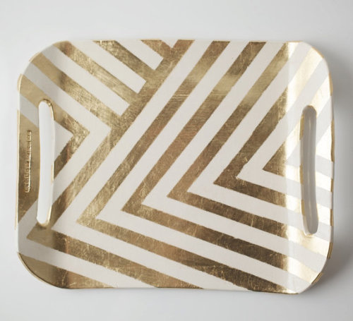 Gold leafed zig zag tray from Etsy