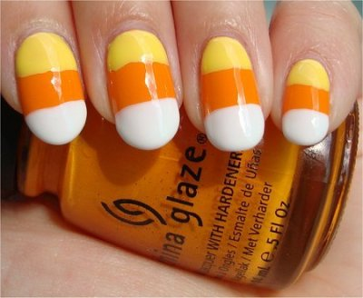 Candy corn nails! Love. (via beautylish)