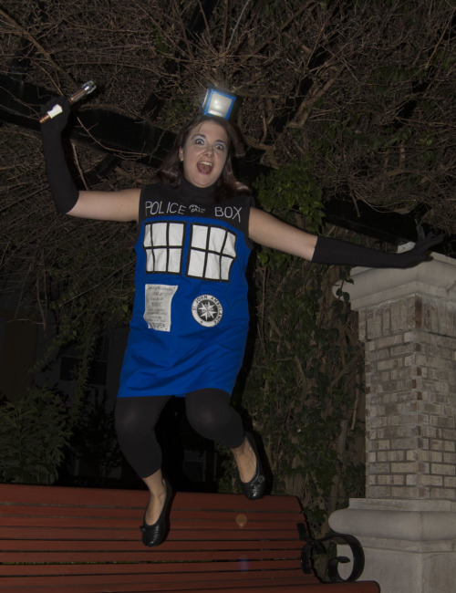 orcawriter:  My entry for the 2011 BBC America costume contest … the Tardis!  Crashing into my neighborhood!  The costume was completely machine-sewn by me and the lamp on my head has a working light inside.  Inspired by different online Tardis dress designs and accompanied by Eleven's sonic screwdriver.  Action shot! The 18th is the BBC America Costume Contest deadline, so head RIGHT OVER HERE and submit away…