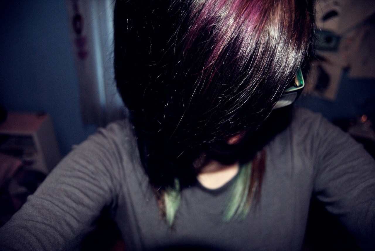 New hair colors. :) Purple & blue, yo.