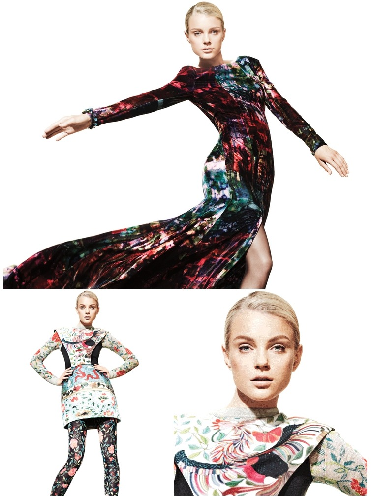 Jessica Stam / Jason Kibbler / The Room Fall 2011 wearing Erdem & Mary Katrantzou