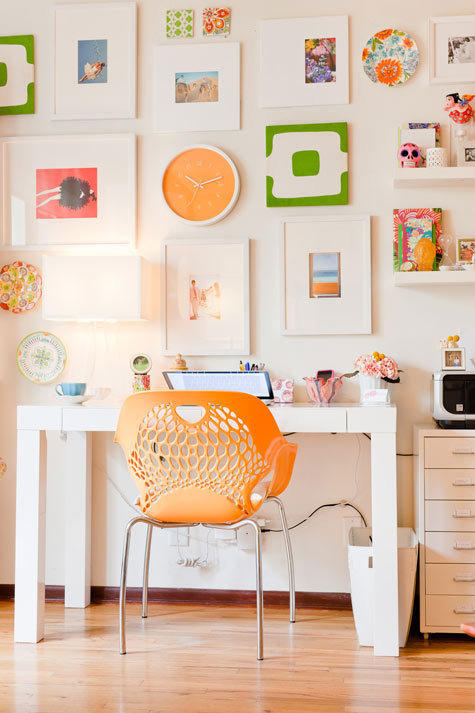 Clean and cheerful workspace.