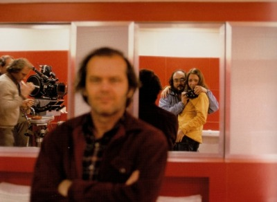 Stanley Kubrick taking a picture of himself, his daughter and Jack Nicholson?