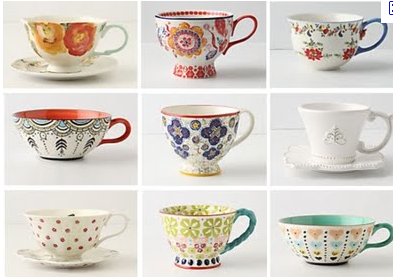 forever-itseems:   ktprettyideas: Anthropologie teacups   Anthropologie is so bourgie and yet, I can't help liking it.