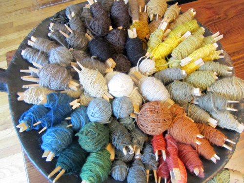 peccadillocollection:  view from the studio: natural plant dyes on local fibers  Pretties! Someday I'll have a backyard and a cauldron, and I'll be able to do natural dyeing.  (There are some mordants you just do not want to let into your house, especially the kitchen.)
