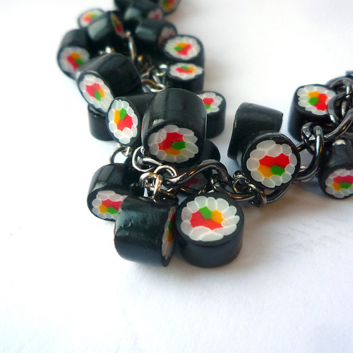 summermakeslove:  Polymer clay sushi bracelet by Emma Routh on Flickr.