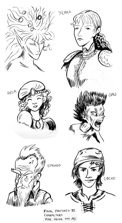 Some quick drawings of characters from Final Fantasy VI. Somewhat inspired by Zac Gorman's illustration, I wanted to see how I might be interpret the characters, especially after having no contact with the game for something close to 15 years. No big plans for this yet, but it was a fun and useful exercise.