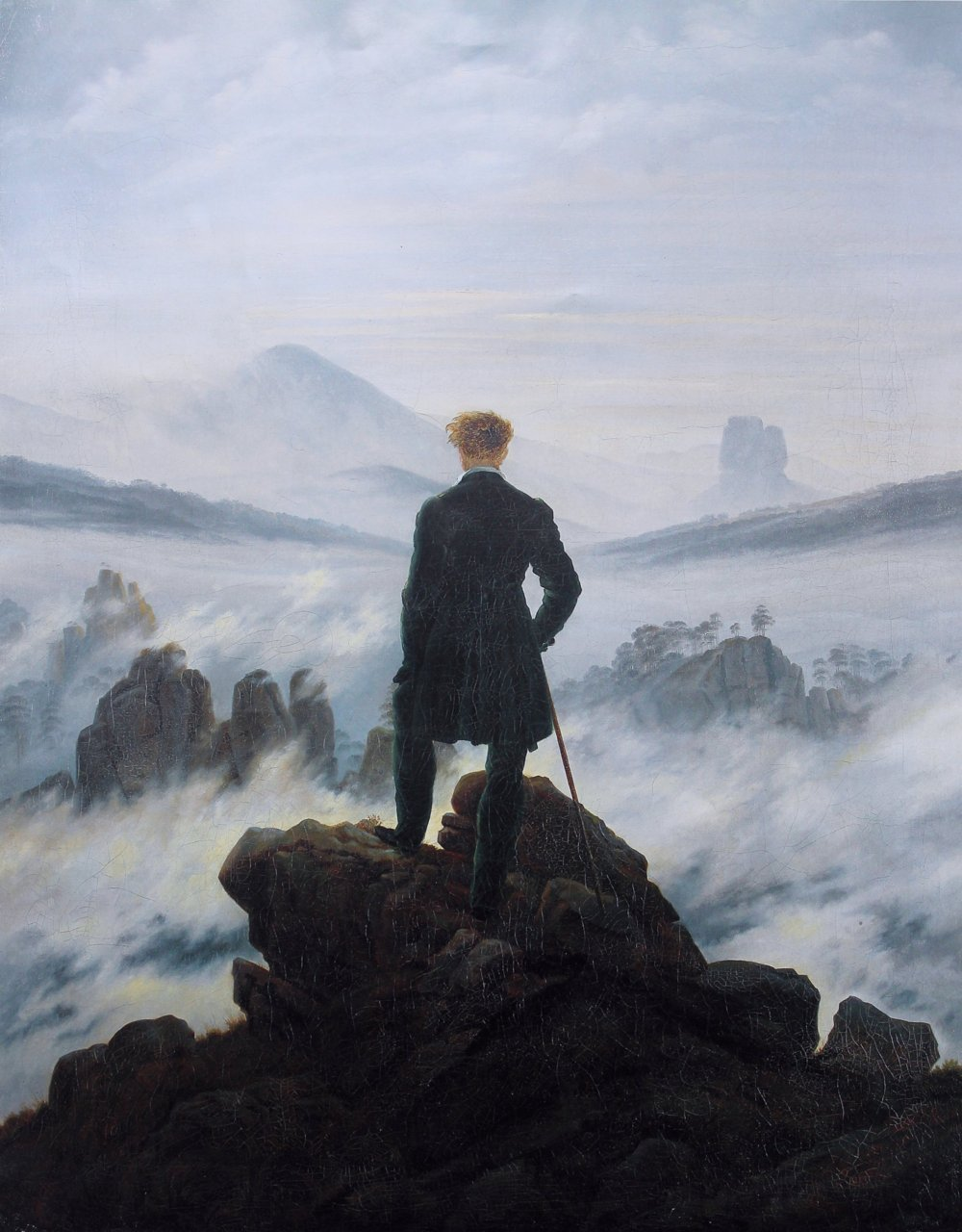 Caspar David Friedrich: The Wanderer above the Mists, 1817-18. Oil on Canvas.