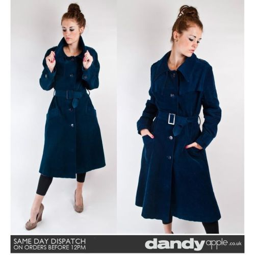 Newly listed @ www.dandyapple.co.uk Link: http://bit.ly/pbaKrs Womens Vintage Retro Dark Blue Thick Corduroy Belted Button Up Long Coat. *   Dark blue in colour, made from a thick cotton corduroy material. *   Fastens with five big blue buttons. Belted around the waist. *   Button fastening cuffs. Epaulette feature detail on the shoulders. *   Two outer hip pockets. Fully lined inside. Size: 10 Material: Cotton Corduroy Condition: No visible faults, marks or stains. Great used vintage condition.