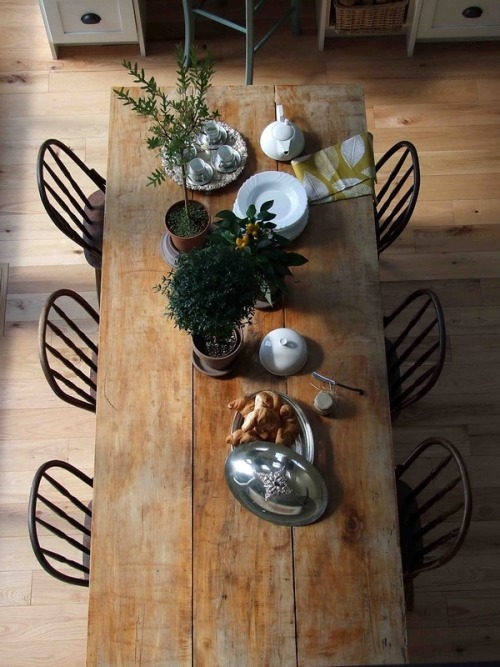 ginandbird:  warmsoull:  I would love a table like this. Have your friends over and make dinner, put a bunch of candles on the table. Sighhhh  want a dining room big enough so that i can make a table this big…