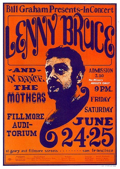 Poster: Lenny Bruce at the Fillmore (West), 1966 Source: Boom Underground