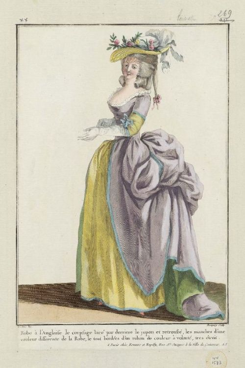 Gallerie des Modes, 1784.  What an elegant gown.  The colors are so pretty together, and I really like the sleeve detailing, the banding, and the skirt lined with a different color.