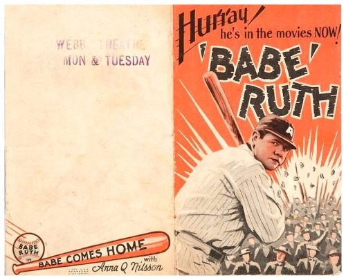 "1927 ""Babe Comes Home"" Theatre Handbill Hurray! He's In The Movies Now!"