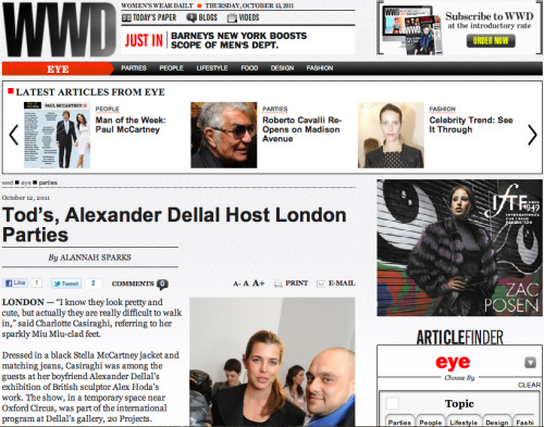 WWD, 19/10/11: Charlotte Casiraghi at Alexander Della's HOSTAGE opening, plus Dionne Bromfield at Tod's.