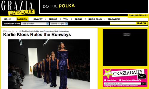 Grazia Daily, 07/10/11: Karlie Kloss Rules the Runways