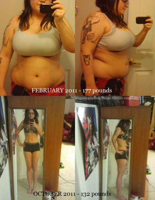 "goodgoodnotbad:  new before/after(well, during). i just need to get rid of that stupid stomach poooooch, damnit. i'm 5'1"", so yeah :D Utterly amazing."