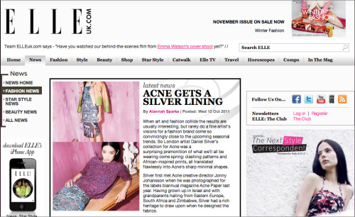 Elluk.com, 12/10/11: Acne and Daniel Silver Collaboration
