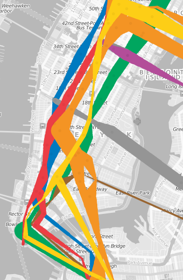wka:  Subway usage visualization where each line on the map gets thicker or thinner to represent changes in ridership over time [Flash, via MTAInsider]
